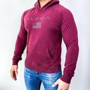 Alpha Maroon Flag Logo Long Sleeve Hoodie Gym